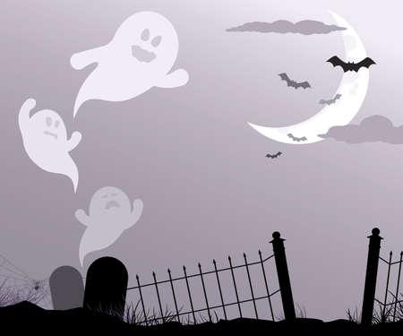幽霊のハロウィーンのシーン