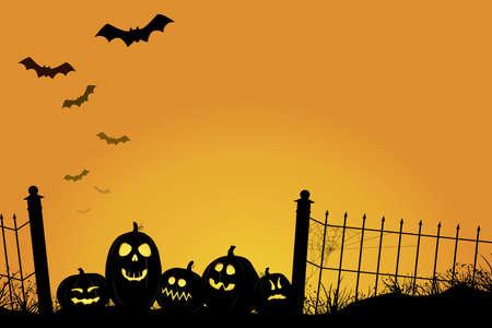 Sunset Halloween Scene Иллюстрация