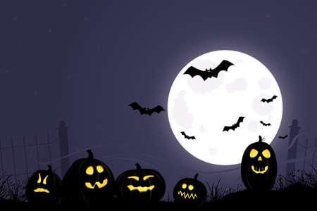 Full moon over Jack O Lanterns