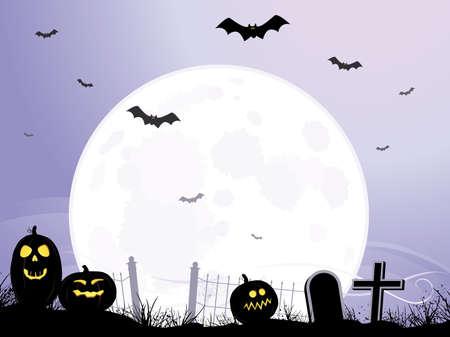 Full moon over cemetery