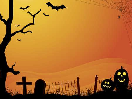 halloween background: Sunset Halloween Scene with Cemetery