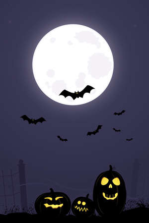 Bats flying over Jack O Lanterns