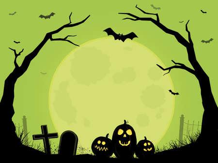 Cemetery Halloween Scene Illusztráció
