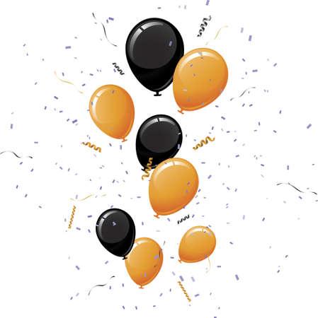 黒とオレンジ色の風船  イラスト・ベクター素材