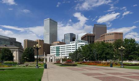 Denver Skyline from Civic Park. Summer of 2010. photo