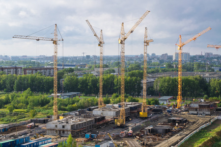 novosibirsk: City landscape: construction work Stock Photo