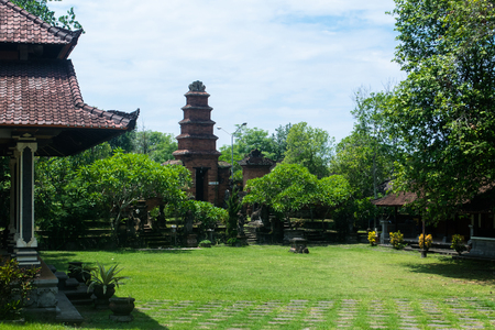 bali province: Scenic hinduism temple in Bali all in green garden