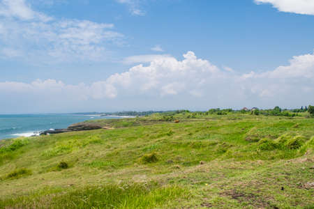 bali province: Lovely view on the green valley and ocean, Bali