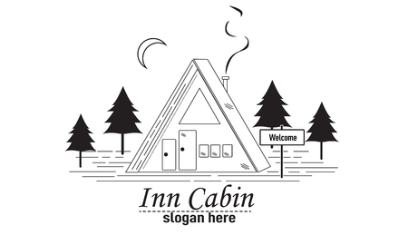 Inn Cabin icon. Vettoriali