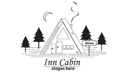 Inn Cabin icon. 向量圖像