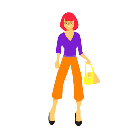 Young woman stands in model pose wearing glasses and hold the fancy handbag with beautiful short red hair. Flat vector design character illustration with white background