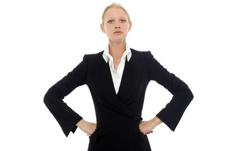 angry woman: portrait of a young caucasian businesswoman with aggressive air wearing a jacket