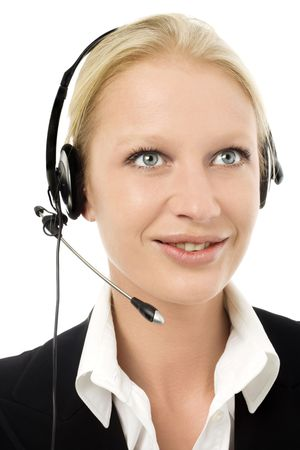 portrait of a young caucasian operator smiling with headphone and microphone photo