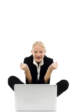 portrait of a young caucasian businesswoman sitting on the floor with laptop Stock Photo - 6826365