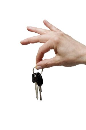 car keys: hand holding keys Stock Photo