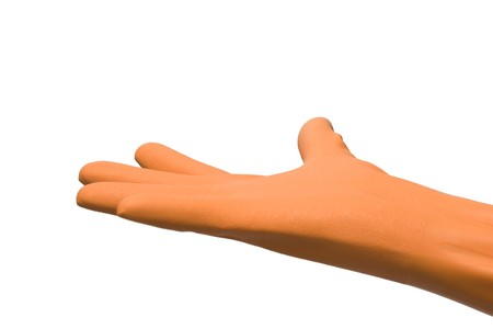 open hand with rubber glove photo