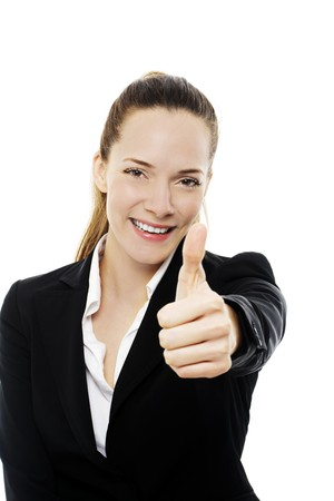 Young businesswoman with thumb up on white background studio photo