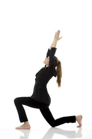 woman working out: Young businesswoman doing yoga on white background studio