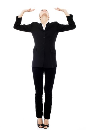 oppressed: Young businesswoman oppressed on white background studio
