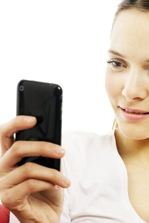 young woman with smart phone on white background studio photo