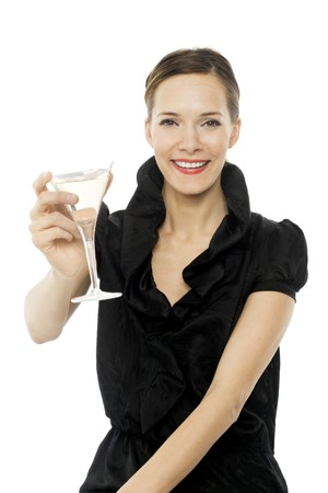 elegant young woman drinking a cocktail on white background studio photo