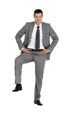 businessman with a foot on a step Stock Photo - 8222648