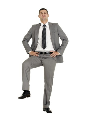 businessman with a foot on a step Stock Photo - 8222629