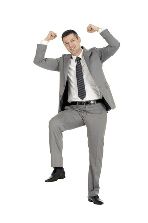 businessman with a foot on a step Stock Photo - 8222623