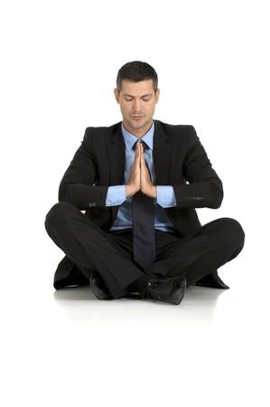 businessman practice yoga photo