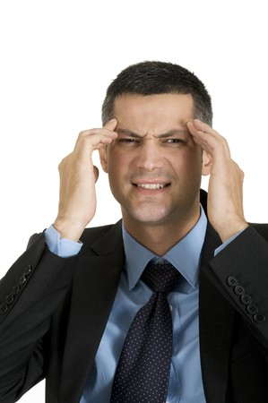 Businessman with headache Stock Photo - 8222703