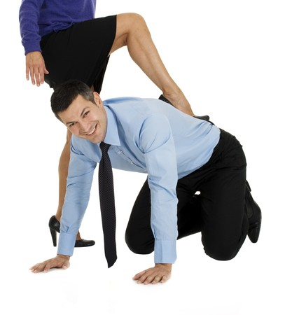 submissive businessman at work photo