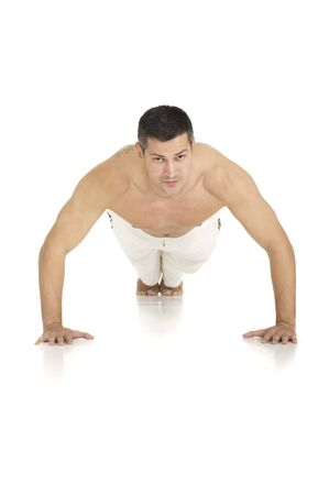 barechested: bare-chested man does push-ups
