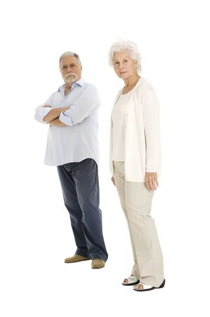 seriousness: elderly couple separated Stock Photo