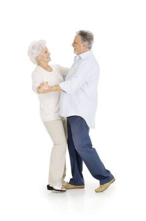 one senior adult woman: elderly couple dancing