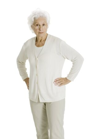 70 75: elderly woman with hands on hips