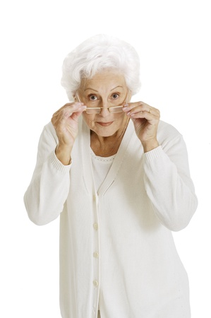 70 75 years: elderly woman with glasses