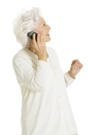 communications tools: old woman with mobile