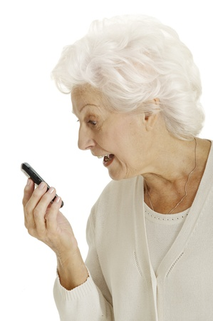 mobile phone screen: old woman with mobile