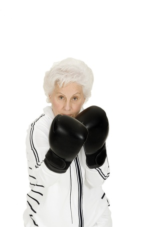 elderly woman with boxing gloves photo