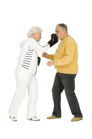 elderly couple with boxing gloves photo