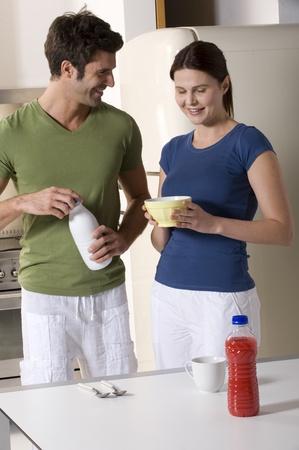 couple having breakfast in the kitchen Stock Photo - 8549689