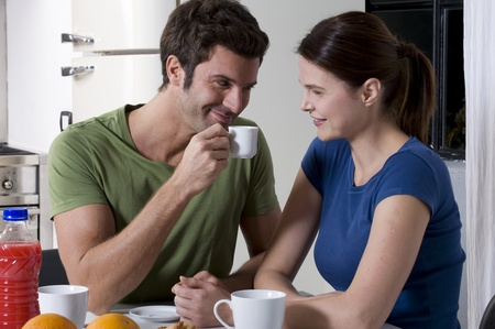 couple having breakfast in the kitchen Stock Photo - 8549960