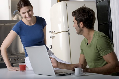 couple having breakfast in the kitchen Stock Photo - 8549700