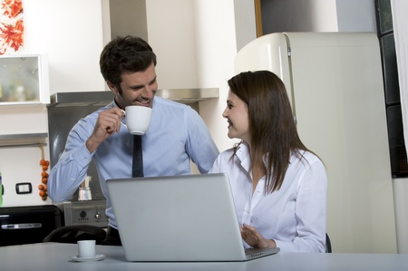 couple drinking coffee before going to work Stock Photo - 8549787