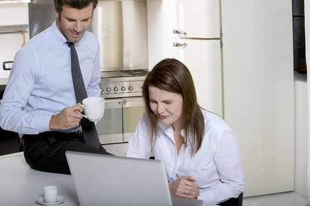 couple drinking coffee before going to work Stock Photo - 8549900