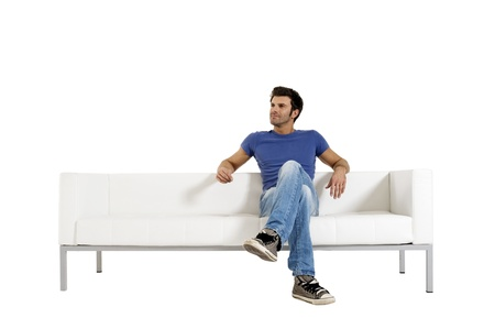 sitted: man on the sofa