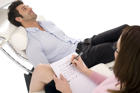 psychotherapy: man by the psychologist Stock Photo