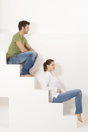 Couple sitting on the steps photo