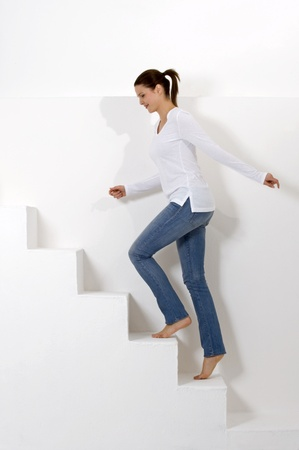 woman climbing the stairs