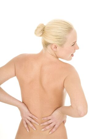 naked woman with back pain photo